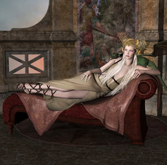 Blonde lady with dragon in an ancient palace