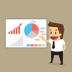 businessman presentation to graph
