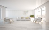 white 3d interior design with panoramic windows - 77139467