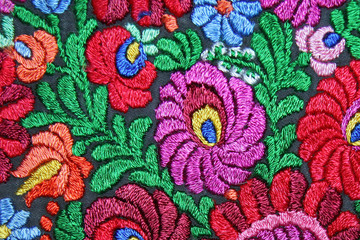 Multicolor floral hand embroidery pattern