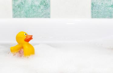 Rubber duck in foam bath