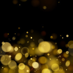 Abstract golden bokeh blurry background.