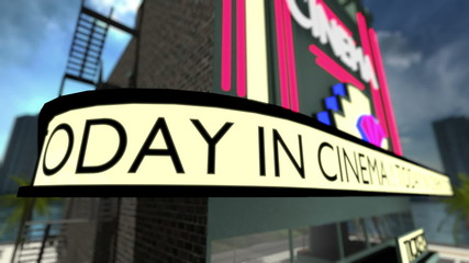 Loop-able animated text on a movie theater.