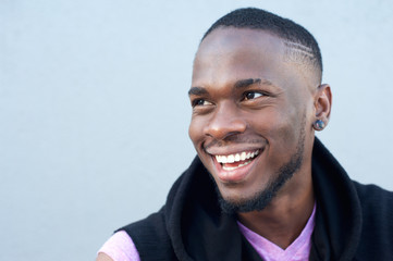 Cheerful young african american man smiling