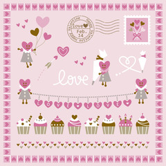 Set of hearts and sweets design