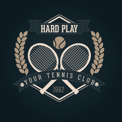 Hand crafted tennis lettering for label and packaging