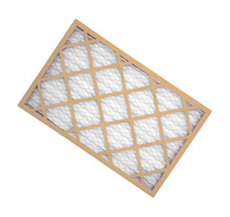 New furnace filter on white background.