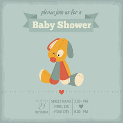 baby shower invitation in retro style