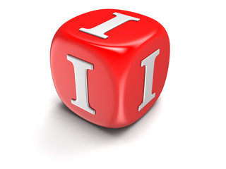 Dice with letter I (clipping path included)