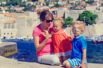 mother and kids on vacation in Europe, Croatia