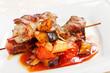 meat kebab with vegetables