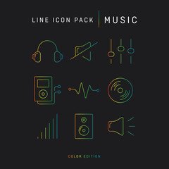 Line icon set music