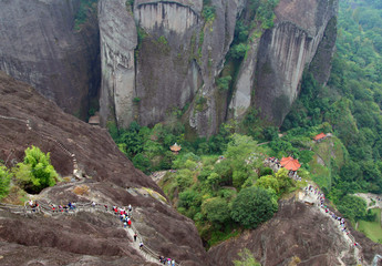 Scenic view from top of Wuyi Mountains peak, Fujian, China