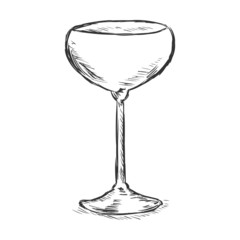 Vector Single Sketch Champagne Saucer