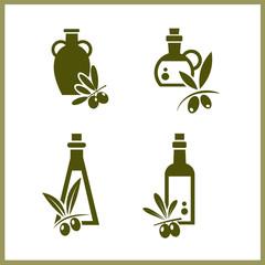 Vector green symbols olive oil