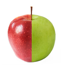 Creative apple combined from red and green half