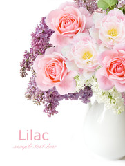 Lilac flowers, roses and tulips bunch