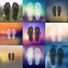 slippers icon on blurred background