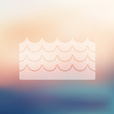 wave icon on blurred background