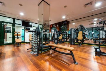 Modern gym interior equipment