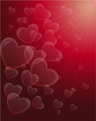 red background with hearts and beams