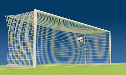 Football goal with flies into the net football ball