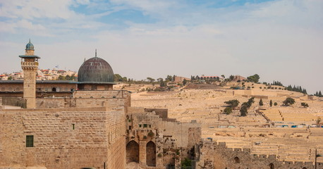 View of  Temple Mount,  minaret, dome of  mosque in Jerusalem