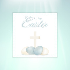Easter speckled eggs and cross on panel
