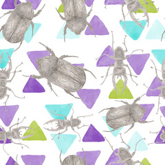seamless pattern with pencil sketches beetles and insects