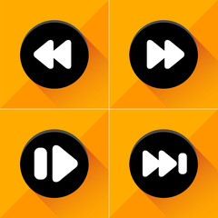 Media player buttons icons set great for any use. Vector EPS10.