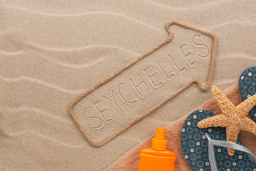 Seychelles pointer and beach accessories lying on the sand