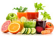 Glasses with fresh organic vegetable and fruit juices on white - 77149665