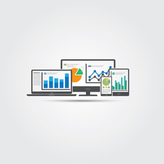 Website analytics and SEO data analysis concept. EPS10 file.