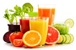 Glasses with fresh organic vegetable and fruit juices on white - 77150027