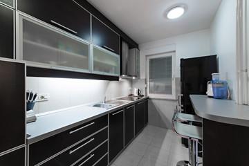 minimalism style kitchen interior monochrome