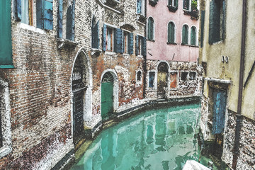 narrow canal in Venice in water color effect