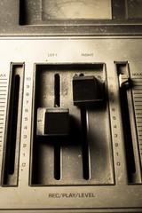 Sepia filtered of radio sound equipment.