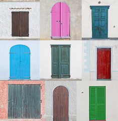 collage of doors
