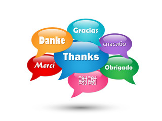 """THANK YOU"" Speech Bubble Tag Cloud (card thanks gratitude joy)"