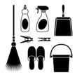 Home Cleaning tools icons set great for any use. Vector EPS10.