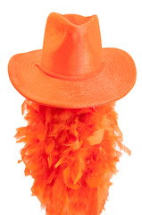 Hat and boa as tipical wear on the Koningsdag in Amsterdam.