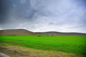 Autumn view fields landscape