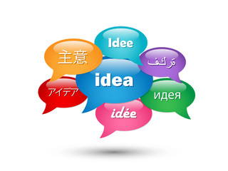 IDEA speech bubble tag cloud (creativity innovation)