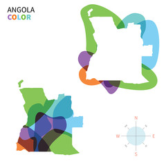Abstract vector color map of Angola