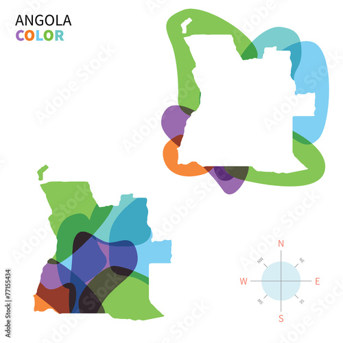 Aluminium Vormen Abstract vector color map of Angola