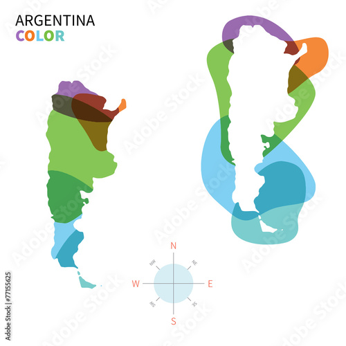 Papiers peints Forme Abstract vector color map of Argentina