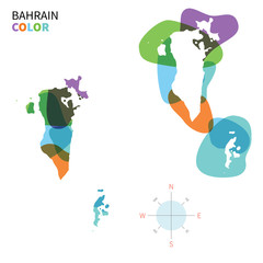Abstract vector color map of Bahrain