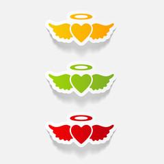 realistic design element: heart angel
