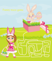 maze game - sweet girl and Easter Bunny