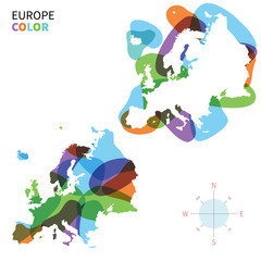 Abstract vector color map of Europe